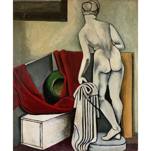 This is a nice vintage still life oil painting done on masonite board. Theme: Sculptural Nude Woman. Unsigned, but we were...
