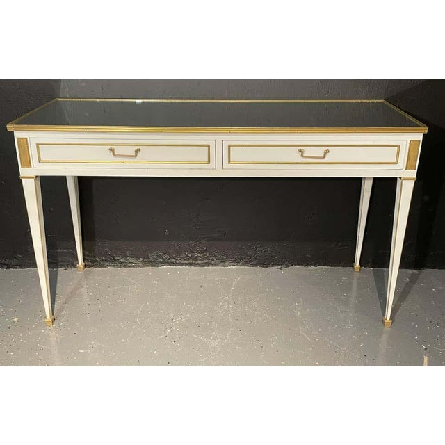 Mid-Century Modern Jansen Hollywood Regency Style Console / Sofa Tables, Mirrored & Painted - a Pair For Sale - Image 3 of 13