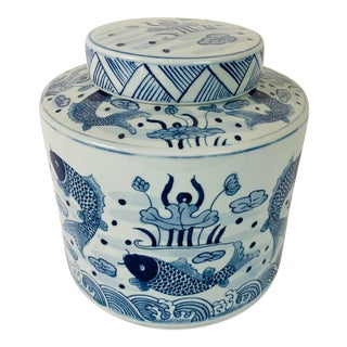 Blue & White Tea Porcelain Jar For Sale