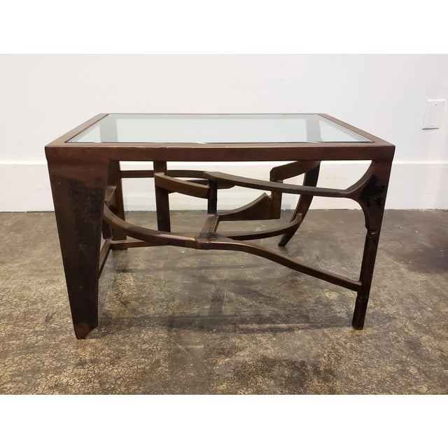 Paul Evans Artisan Crafted Iron and Glass Table Postmodern Brutalist For Sale - Image 4 of 8
