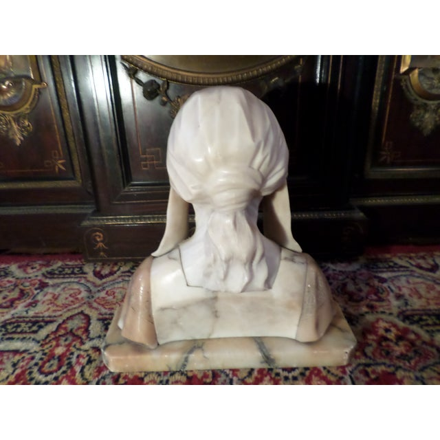 Antique Italian Alabaster Bust of Woman For Sale - Image 4 of 13