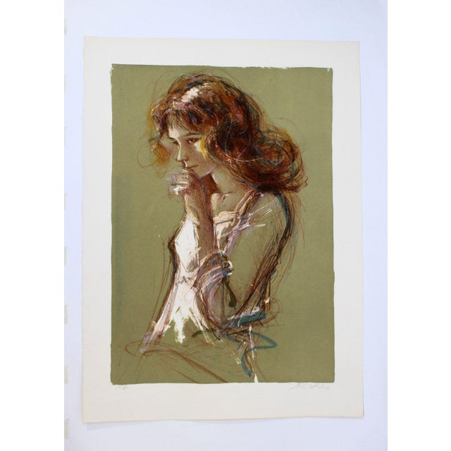 Jacques Pecnard Signed Artist Proof Print Portrait Girl Thinking For Sale In Detroit - Image 6 of 6