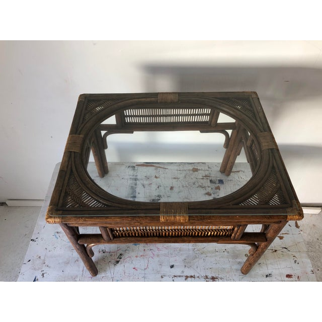 1990s Rattan Asian Style Coffee Table W/Glass 28x22x20.5h Excellent For Sale - Image 5 of 8