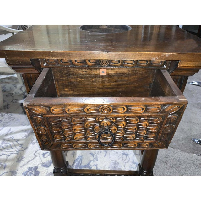 Hand carved wooden vanity with a hand painted sink - hand carved piece with gorgeous beveled edge. Vanity Sink Dimensions:...