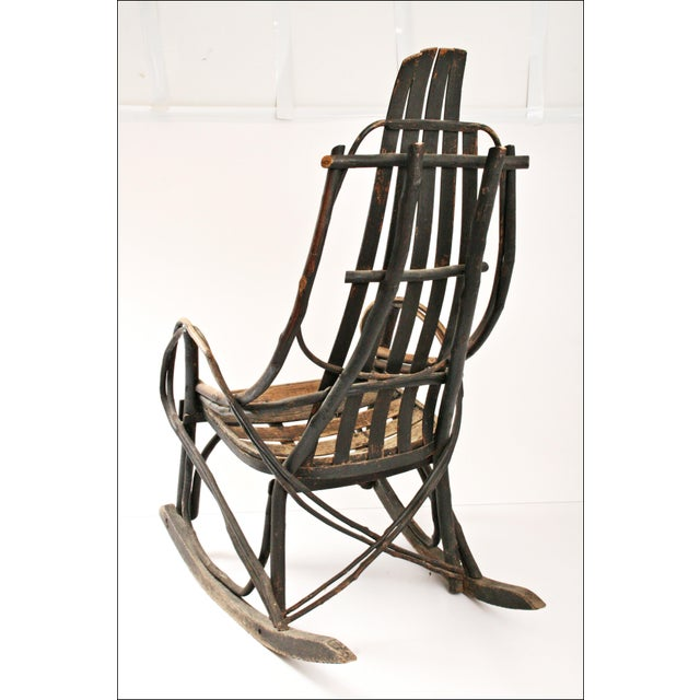 Vintage Adirondack Twig Wood Rocker - Image 3 of 11