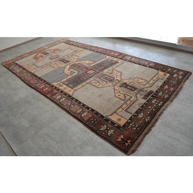 Textile 6x11 Kilim Rug Kurdish Runner Hand Knotted Full Tribal Design Area Rug - 6′3″ X 11′4″ For Sale - Image 7 of 7