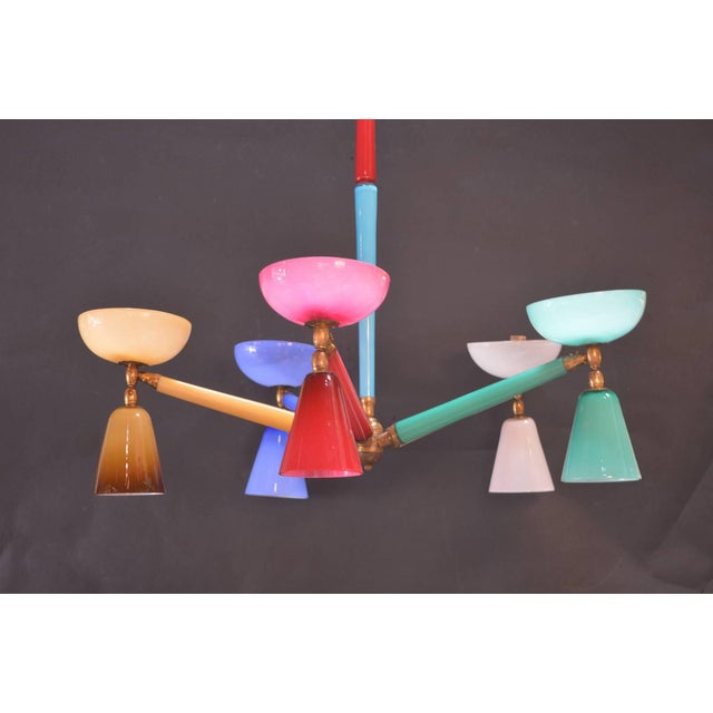 Italian Multicolored Murano Glass Chandelier in the Style of Gio Ponti For Sale - Image 3 of 5