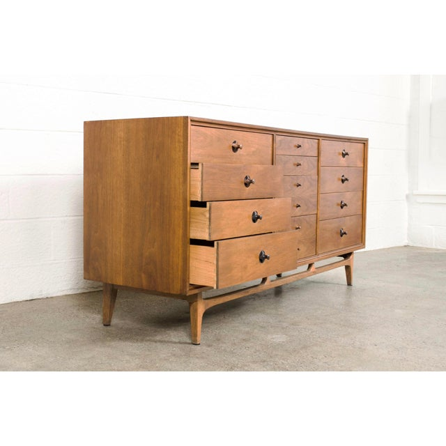 Brown Mid Century Walnut & Rosewood Lowboy Dresser For Sale - Image 8 of 11