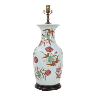 Chinese 19 Century Amphora Famille Rose Vase Lamp For Sale