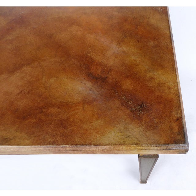 Mid 20th Century Faux Painted Writing Library Table With Green and Gilt Tapering Legs For Sale - Image 5 of 9