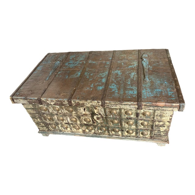 Antique Teak & Brass Trunk For Sale