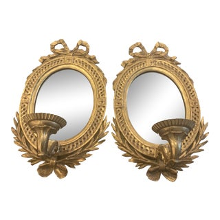 1940s Italian Giltwood Mirrored Sconces - a Pair For Sale