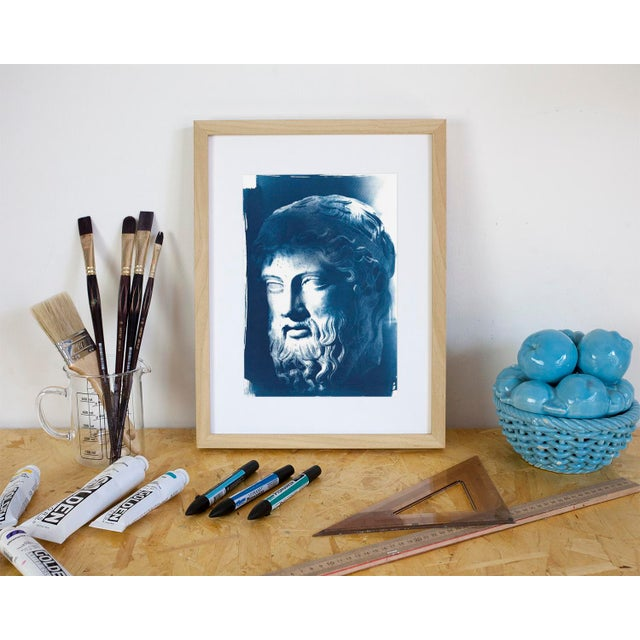 Roman Man with Beard Bust Sculpture, Cyanotype (Limited Edition) For Sale - Image 4 of 4