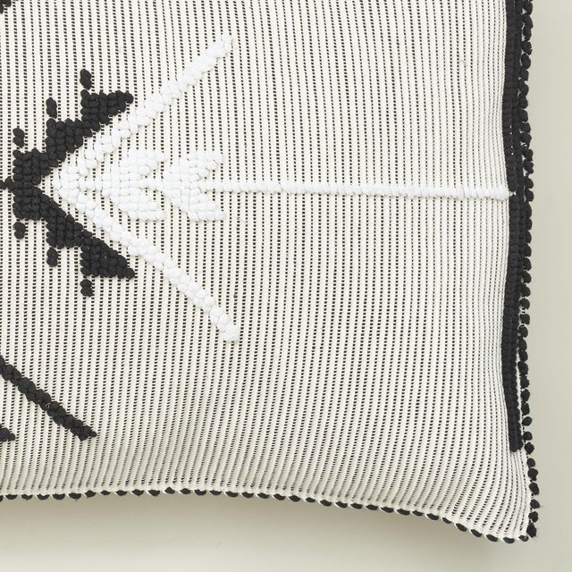 "Contemporary Schumacher Artiganale Italian Hand Woven Black White 48"" Floor Pillow For Sale - Image 3 of 5"