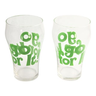 """Vintage 1960s Pop Art Barware Collectible """"Go for It!"""" Drinking Tumbler Glasses - a Pair For Sale"""