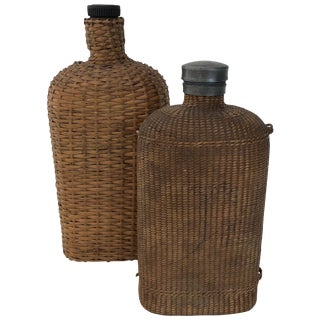 Large Pair of Wicker Flasks For Sale
