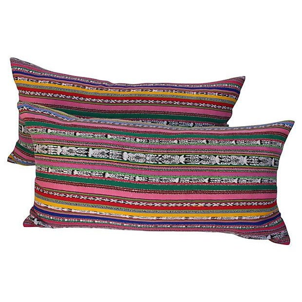 Pair of pillows in vintage colorful striped handwoven cotton ikat Guatemalan skirt fragment. New linen backs and zipper...