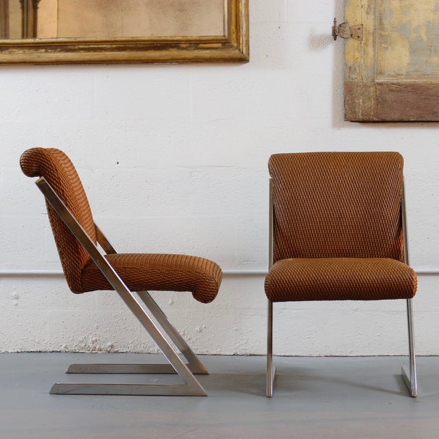 Pair of Mid-Century Synthetic Rattan Chairs For Sale - Image 4 of 4