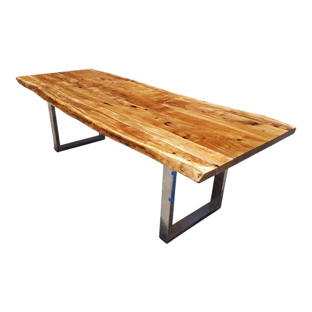 Acacia Wood Live Edge Dining Table - Image 1 of 9