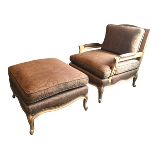 1990s Bergere Chair and Ottoman - 2 Pieces For Sale