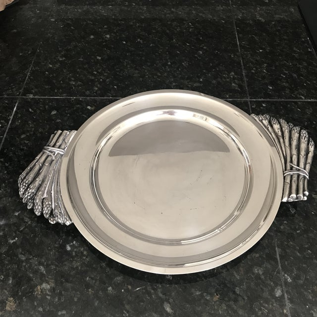 Vintage, silver plated Teghini Firenze, Italy, serving platter with 2 bunches of asparagus as handles. With the heavy...