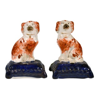 Staffordshire Miniature Dogs on Pen-Holder Cushion Bases, Circa 1860 For Sale