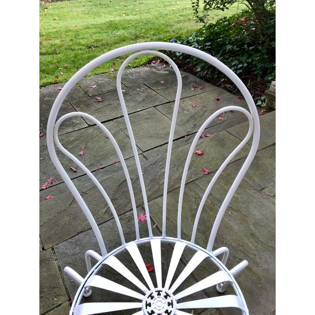 Francois Carre 1930s Vintage Francois Carre White Sunburst Iron Garden Chair For Sale - Image 4 of 12