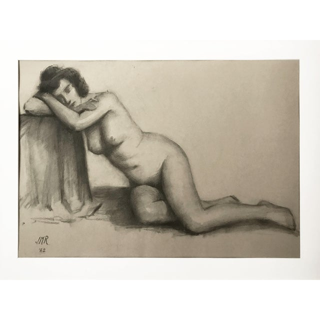 """Original drawing of a nude female model by J. Mason Reeves, signed lower left """"JMR '62"""" and estate stamped on verso. He..."""