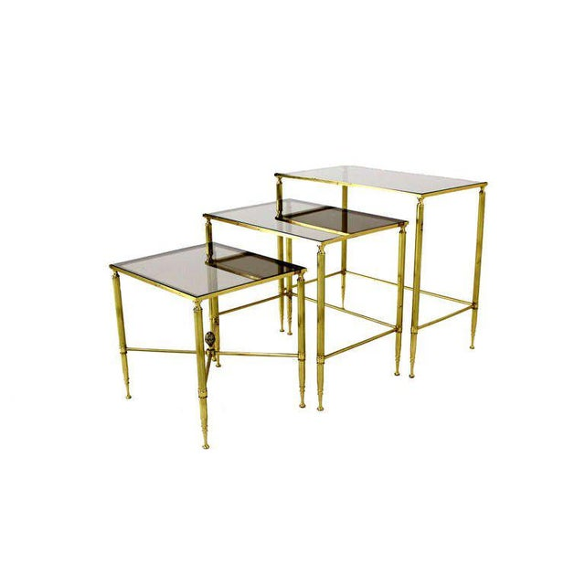 Early 20th Century Solid Brass Smoked Glass Set of Three Nesting Stacking Tables For Sale - Image 5 of 6