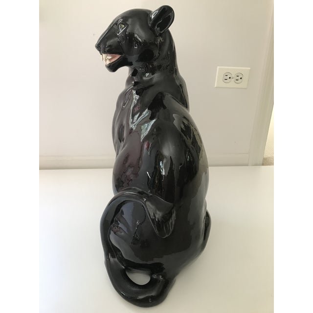 Late 20th Century Vintage Black Panther Ceramic Statue For Sale - Image 5 of 6