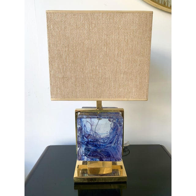 Blue Contemporary Pair of Lamps Brass Cage Murano Glass Cube, Italy For Sale - Image 8 of 11