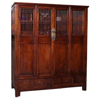 Anglo-Chinese Large Elmwood Cabinet with Accordion Doors, Turn of the Century For Sale