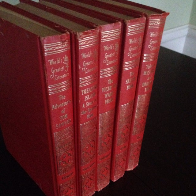 Mid-Century Decorative Red & Gold Classic Books - Set of 5 - Image 11 of 11