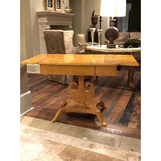 """Biedermeier/Art Deco danish maple table. Early 20th c., rectangular top with leaves opening to 52.75""""w raised on a..."""