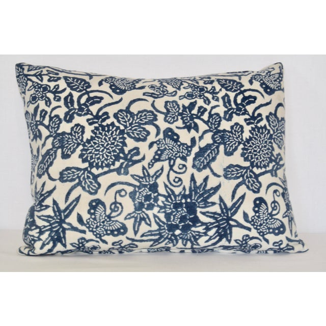 Pair of Blue French Floral/Fauna Block Print Pillows. Backed with high quality Italian linen. Back with zipper closure and...