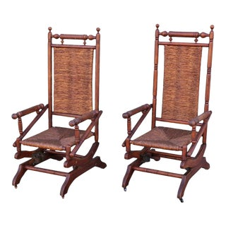 Rustic 19th Century Platform Rocking Chairs - a Pair For Sale