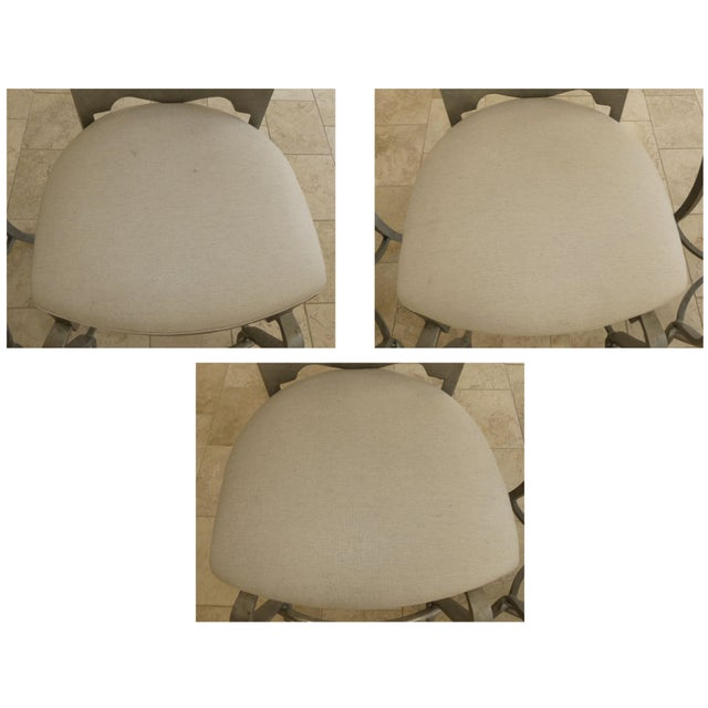 1990s Modern Biedermeier Style Metal Counter Stools - Set of 3 For Sale - Image 12 of 13