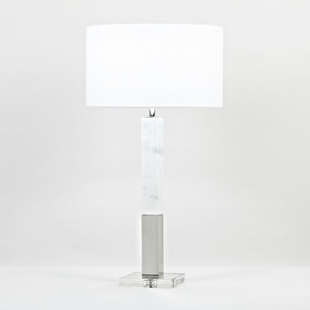 "34.5""H - 150W 3-way marble, white - metal, polished nickel finish - crystal base Shade: white linen; 17.75""ø x 10.25""H"