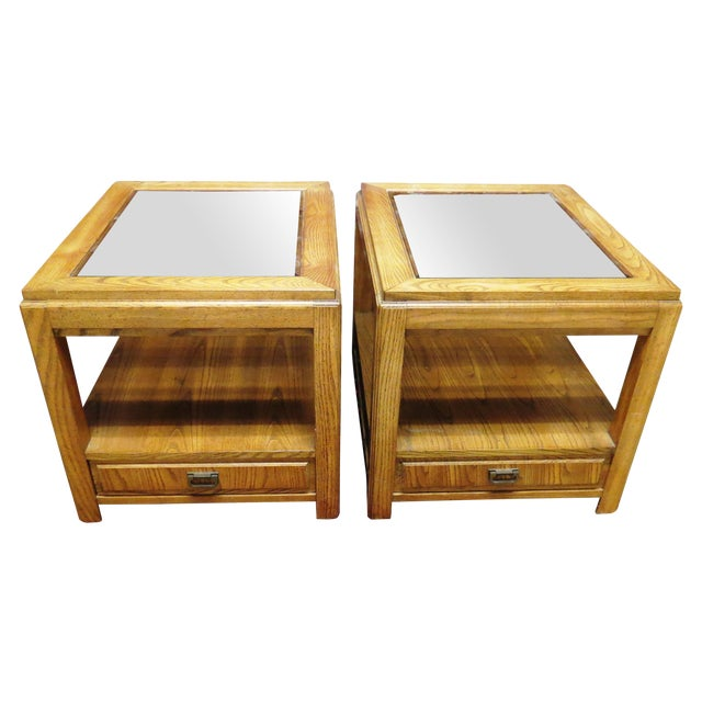 Vintage Wooden Glass Top Side Tables - Pair - Image 1 of 5