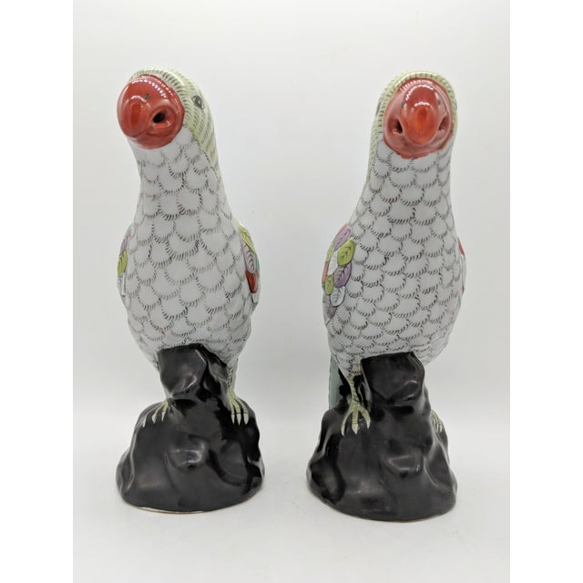 Vintage Mid-Century Chinese Hand Painted Parrot Figurines - a Pair For Sale - Image 4 of 10
