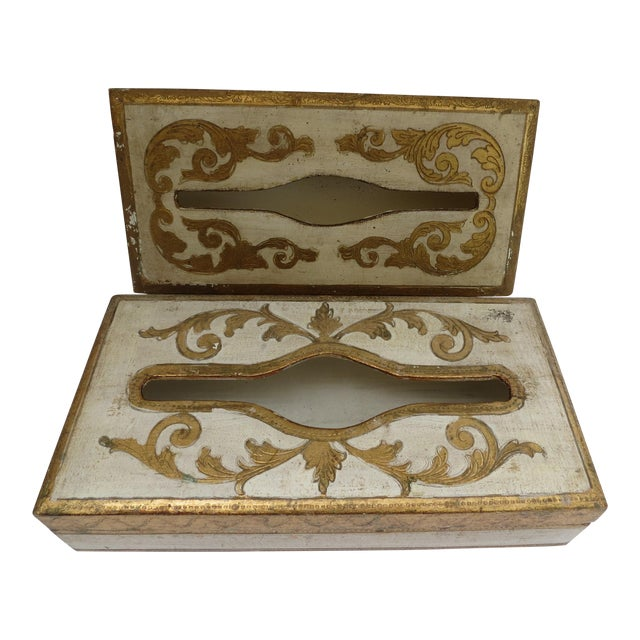 Florentine Tissue Boxes - A Pair - Image 1 of 6