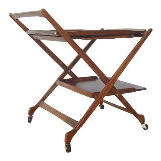 1960s Mid Century Modern Folding Walnut Bar Cart For Sale
