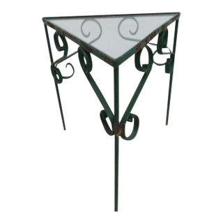 Vintage Triangle Wrought Iron Pedestal Patio Pirch Lamp End Table For Sale