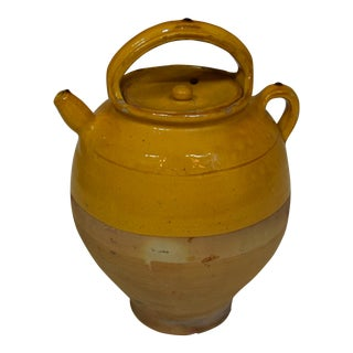 Late 19th-Century French Mustard Stoneware Pot With Lid For Sale