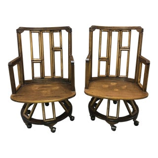 1960s Vintage Boho Chic Ficks Reed Bamboo Swivel Captain's Chairs- A Pair For Sale