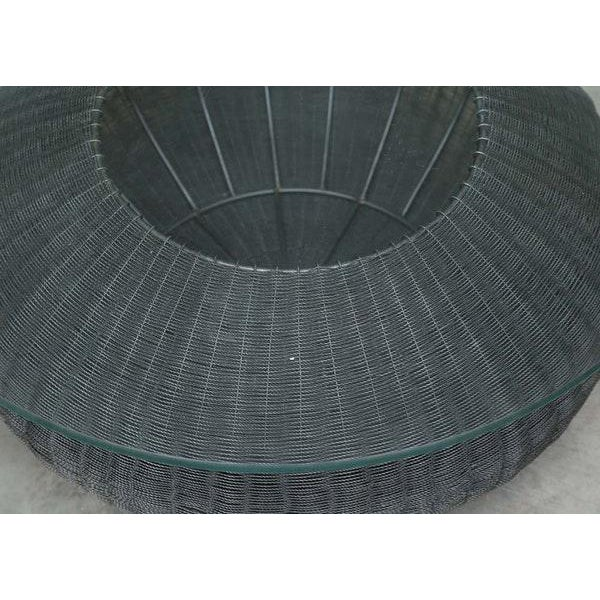 Mid-Century Modern Style Wire Weave Glass Table For Sale - Image 5 of 8