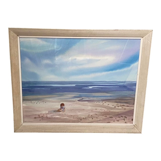 Mid 20th Century Floridian Seascape Watercolor Painting by Shirley Clement, Framed For Sale