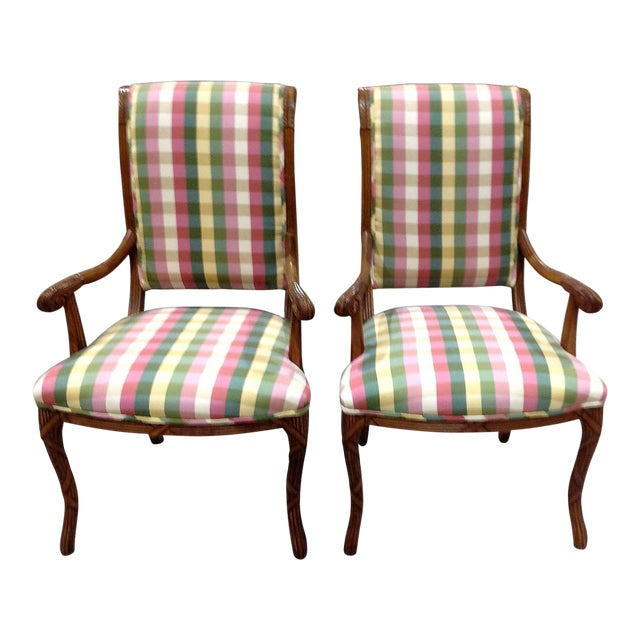 Modern French Style Arm Chair Multi Plaid Fabric - A Pair For Sale