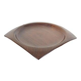 Mid-Century Modern Oskar Kirsten Turned Purpleheart Wood Square Plate Charger For Sale
