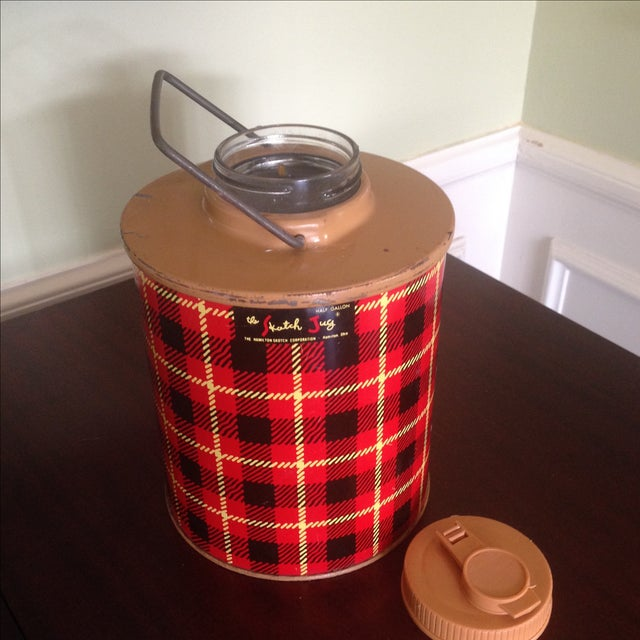 Vintage Plaid Metal Cooler Thermos - Image 11 of 11